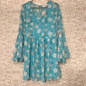 Umgee sky blue Boho floral fit flare dress